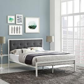 Lottie 5447 King Platform White Metal Bed Frame with Gray Fabric Headboard