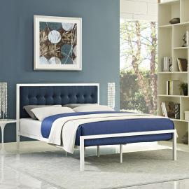 Millie 5456 White King Metal Platform Bed with Navy Blue Fabric Headboard