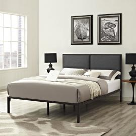Della 5463 King Brown Metal Platform Bed Frame with Gray Fabric Panel Headboard