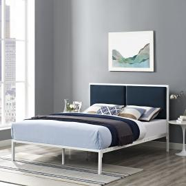 Della 5463 King White Metal Platform Bed Frame with Navy Blue Fabric Panel Headboard