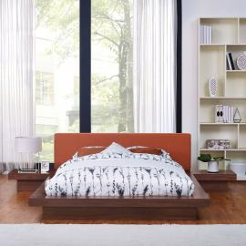 Freja 5492 Queen Platform Bed in Walnut Finish with Nightstands and Orange Fabric Headboard