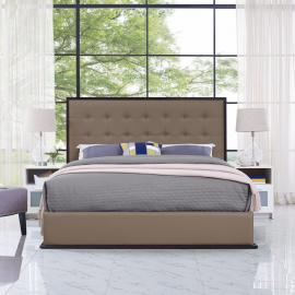Madeline 5498 Queen Bed Frame in Cappuccino Finish and Brown Vinyl Upholstery