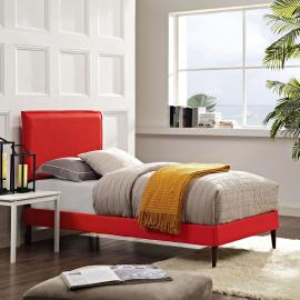 Camille 5604 Twin Platform Bed Frame in Red Fabric