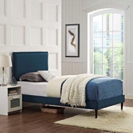 Camille 5604 Twin Platform Bed Frame in Navy Blue Fabric