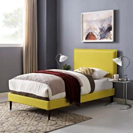 Camille 5604 Twin Platform Bed Frame in Yellow Fabric