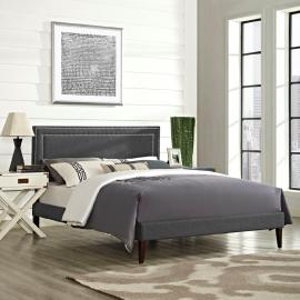 Jessamine 5652 King Platform Bed Frame in Gray Fabric