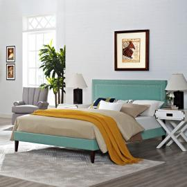 Jessamine 5652 King Platform Bed Frame in Light Blue Fabric