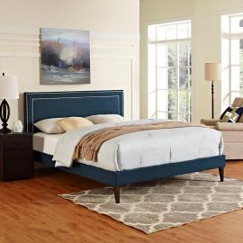 Jessamine 5652 King Platform Bed Frame in Navy Blue Fabric