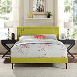 Josie 5672 King Platform Bed Frame in Green Fabric