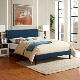 Phoebe 5702 King Platform Bed Frame in Navy Blue Fabric