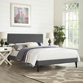 Phoebe 5702 King Platform Bed Frame in Gray Fabric