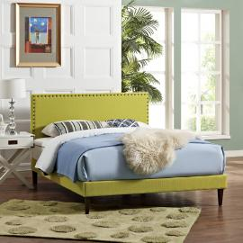 Phoebe 5702 King Platform Bed Frame in Green Fabric