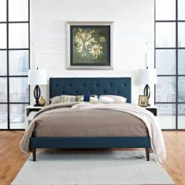 Terisa 5718 King Platform Bed Frame in Navy Blue Fabric