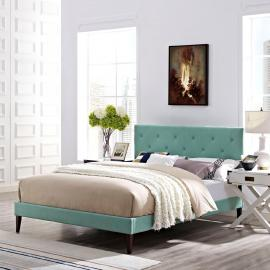 Terisa 5718 King Platform Bed Frame in Light Blue Fabric