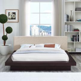 Freja 5721 Cappuccino Queen Platform Bed with Beige Fabric Headboard