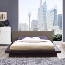Freja 5721 Cappuccino Queen Platform Bed with Brown Fabric Headboard