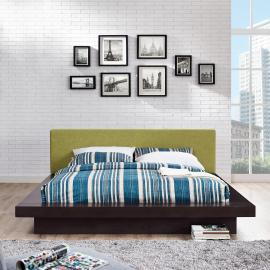 Freja 5721 Cappuccino Queen Platform Bed with Green Fabric Headboard