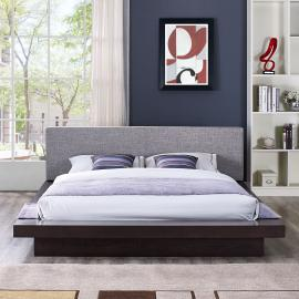 Freja 5721 Cappuccino Queen Platform Bed with Gray Fabric Headboard
