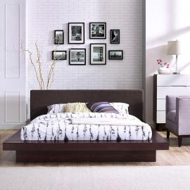 Freja 5721 Cappuccino Queen Platform Bed with Dark Brown Fabric Headboard