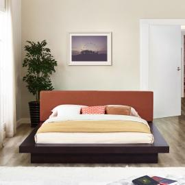 Freja 5721 Cappuccino Queen Platform Bed with Orange Fabric Headboard