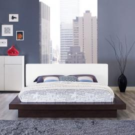 Freja 5722 Cappuccino Queen Platform Bed with White Leatherette Headboard