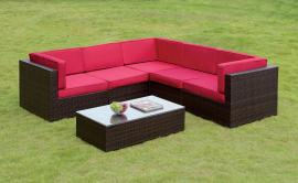 Zendaya OS2115RD Red Patio Sectional With Coffee Table