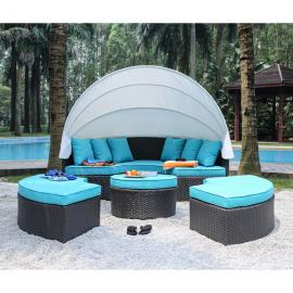 Aria OS2117 Outdoor Patio Canopy Baybed With Turquoise Cushions