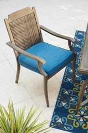 Ashley P556-601A Partanna Chair with Cushion Set of 4 in Blue/Beige