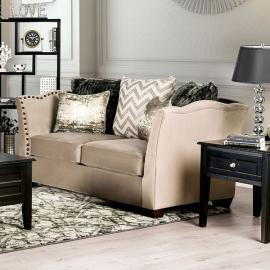 Hampden Warm Beige Fabric Loveseat SM2273-LV by Furniture of America