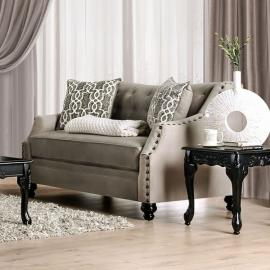 Ezrin Light Brown Fabric Loveseat SM2668-LV by Furniture of America