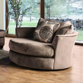 Bonaventura Brown Fabric Swivel Chair SM5142BR-CH by Furniture of America