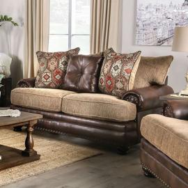Fletcher Brown & Tan Fabric Gray Loveseat SM5148-LV by Furniture of America