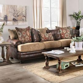 Fletcher Brown & Tan Fabric Gray Sofa SM5148-SF by Furniture of America