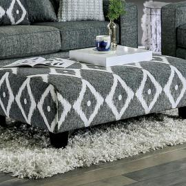 Bassie Gray Fabric Ottoman SM5156-OT by Furniture of America