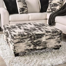Barnett Ivory & Gray Fabric Ottoman SM5204-OT by Furniture of America