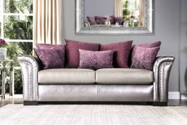 Benigno Pewter & Purple Fabric SM6412-SF Sofa by Furniture of America