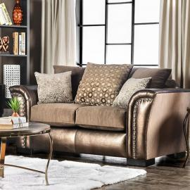Benigno Brown Fabric SM6414-LV Loveseat by Furniture of America