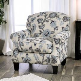 Nash Ivory & Navy Fabric Accent Chair SM8101-CH-FL by Furniture of America