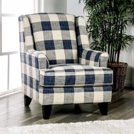 Nash Ivory & Navy Fabric Accent Chair SM8101-CH-SQ by Furniture of America