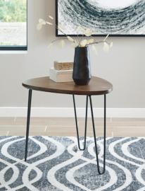 T242-6 Courager by Ashley Triangle End Table In Brown/Black