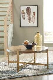 T346-8 Franston by Ashley Round Cocktail Table In Light Brown
