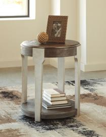 T453-6 Brenzington by Ashley Round End Table In Grayish Brown/Silver