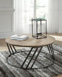 T536-8 Fathenzen by Ashley Round Cocktail Table In Two-tone