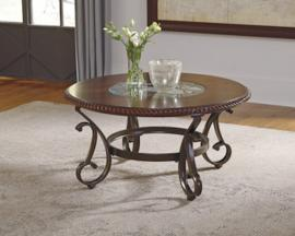 T626-8 Gambrey by Ashley Round Cocktail Table In Reddish Brown