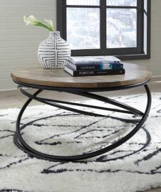 T644-8 Charliburi by Ashley Round Cocktail Table In Brown/Black