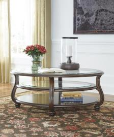 T819-0 Yexenburg by Ashley Oval Cocktail Table In Dark Brown