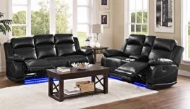 Vega Collection U3822 Black Power Reclining Sofa & Console Loveseat Set