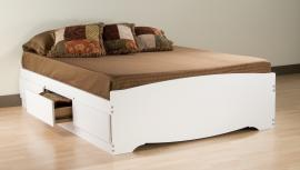 White Queen Platform Storage Bed (6-drawers) WBQ6200