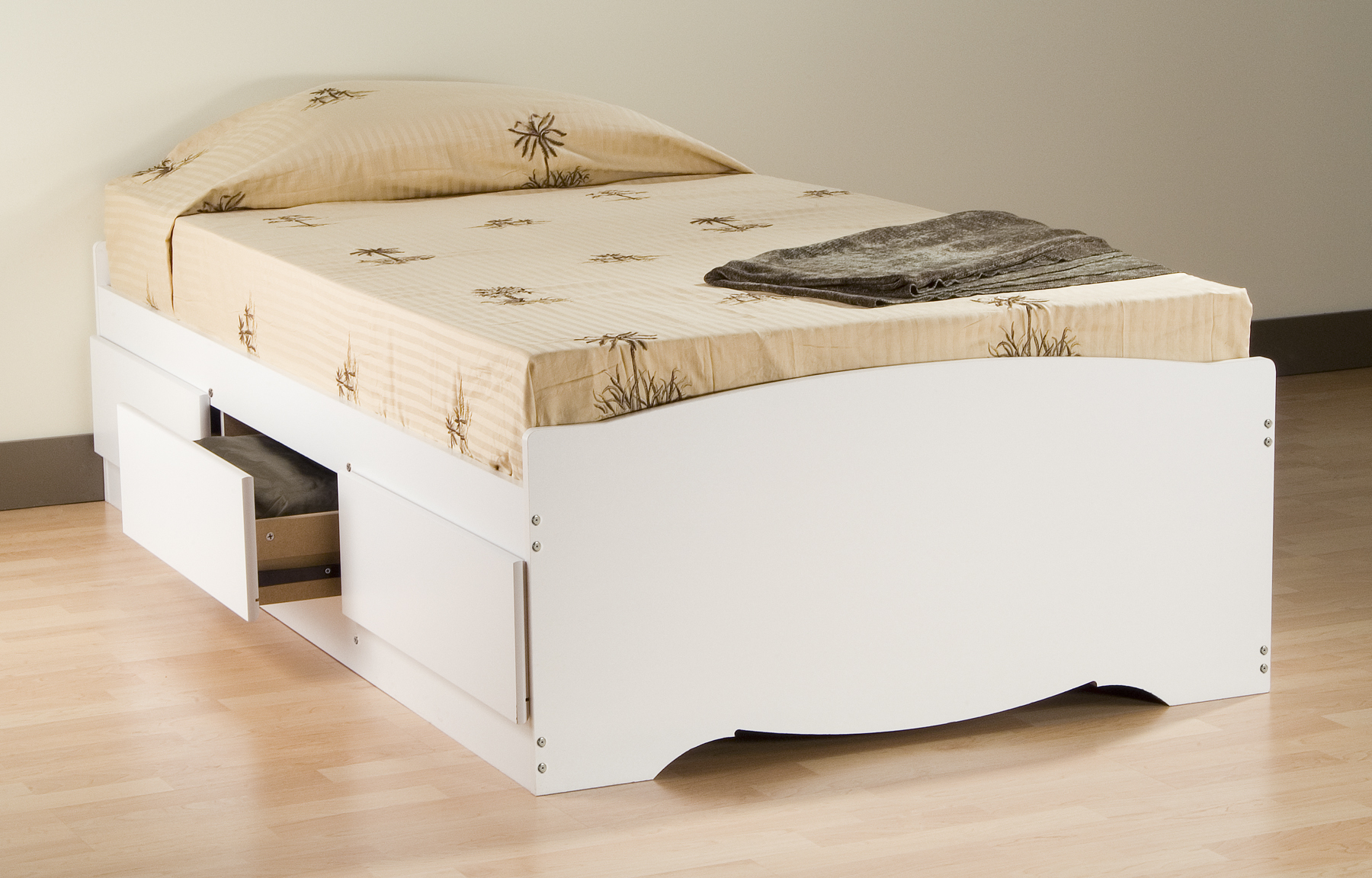 Prepac White Twin Platform Storage Bed 3 Drawers